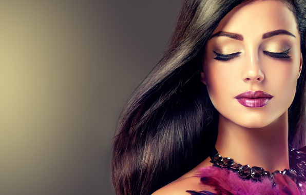 Picture girl, eyelashes, model, hair, feathers, makeup, lipstick, hairstyle, lips, necklace, long
