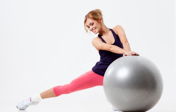 Picture girl, pose, smile, sport, the ball, gymnastics, makeup, Mike, large, hairstyle, blonde, white background, fitness, …