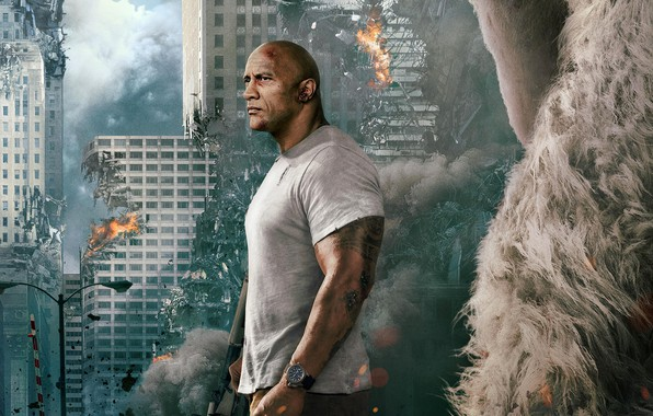Picture the city, background, fiction, fire, smoke, home, disaster, gorilla, the ruins, poster, Dwayne Johnson, Dwayne ...