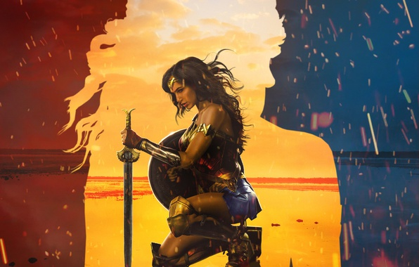 Picture cinema, fire, flame, sword, Wonder Woman, beach, armor, sea, sand, movie, ken, blade, brunette, film, …