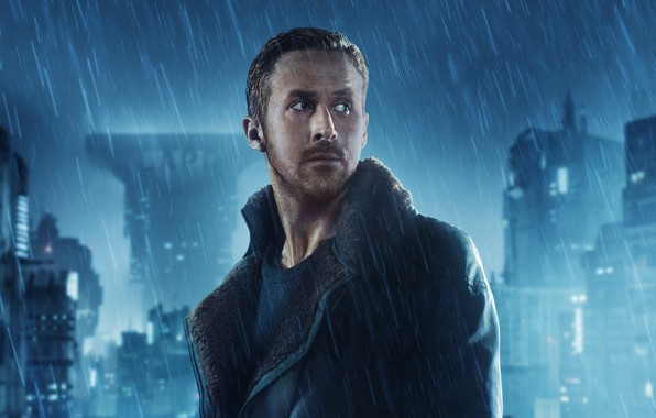 Picture night, the city, lights, fiction, rain, home, jacket, Thriller, poster, Ryan Gosling, Ryan Gosling, Blade …