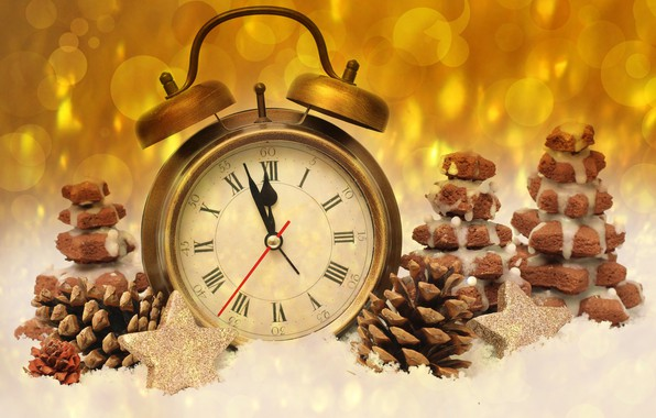Picture time, glare, background, holiday, watch, new year, cookies, alarm clock, bumps, midnight