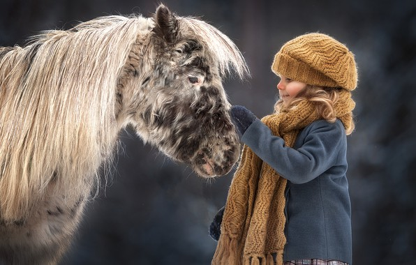 Picture mood, girl, pony, horse