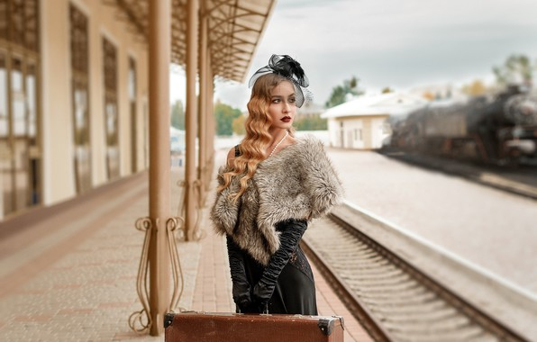 Picture girl, station, railroad