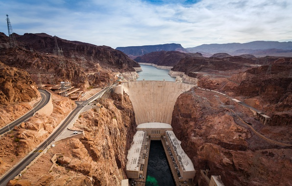 Picture mountains, river, dam, Colorado, canyon, panorama, AZ, USA, Nevada, The Grand Canyon, the view from …