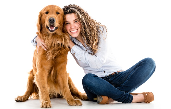 Picture girl, smile, dog, jeans, hairstyle, shoes, white background, red, shirt, on the floor, Retriever, sitting