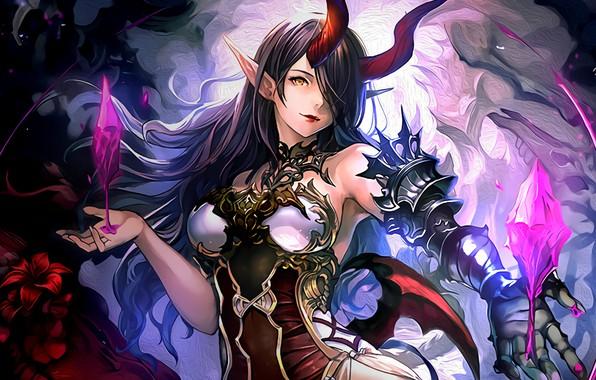 Picture girl, horns, anime, brunette, anime girl, Belphegor, pointy ears, Shingeki no Bahamut, Shadowverse