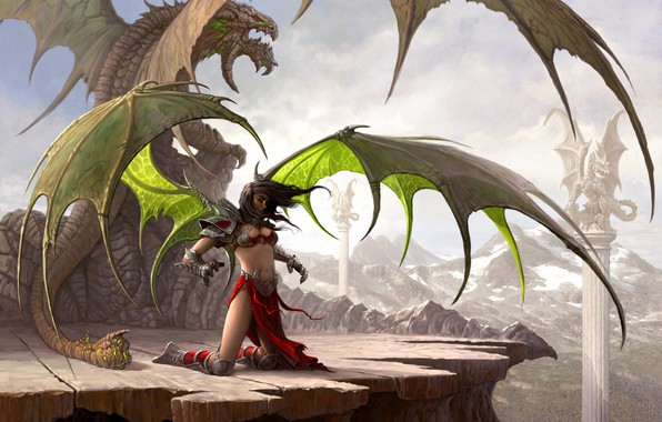 Picture mountains, woman, dragon, wings, columns, 07645