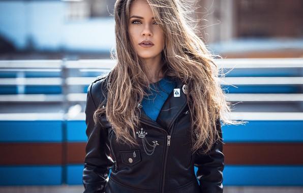 Picture the sun, background, model, portrait, makeup, jacket, hairstyle, blonde, black, beauty, bokeh, kozhanka, Dajana, Anatoly …