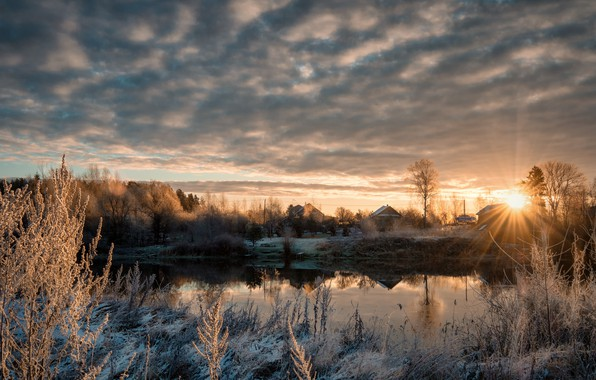Picture cold, ice, frost, river, dawn, morning, village, November, Dubna