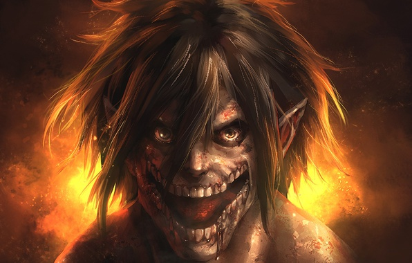 Picture blood, monster, anime, asian, giant, manga, colossus, japanese, asiatic, Shingeki no Kyojin, Eren Yeager, Attack …