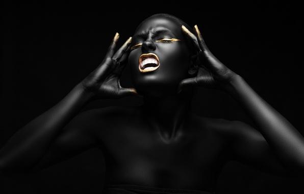 Picture golden, black, pose, female, Fashion, make-up