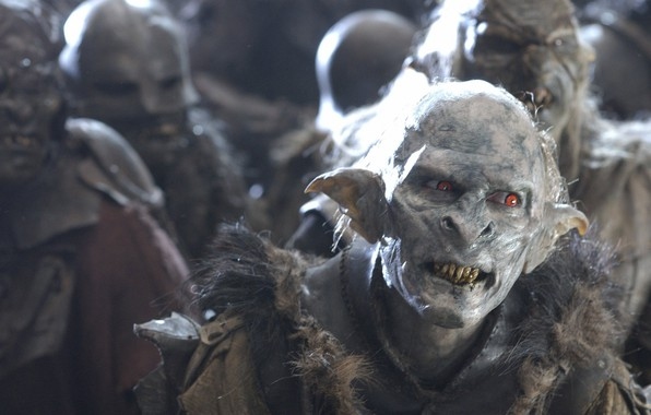Photo wallpaper fang, orcs, red eye, movie, army, armor, evil, Lord of the Rings, bokemono, film, cinema