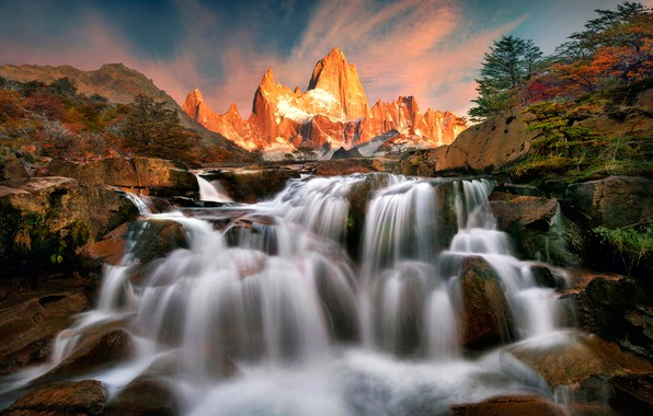 Picture trees, sunset, mountains, stream, stones, rocks, waterfall, Argentina, Patagonia