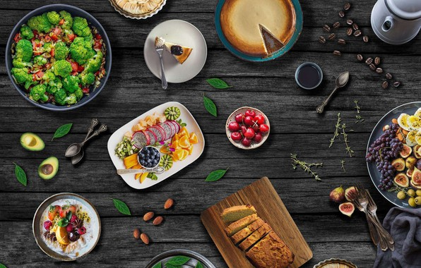 Photo wallpaper pie, grapes, food, fruit, bread, berries, salad, coffee, figs, vegetables
