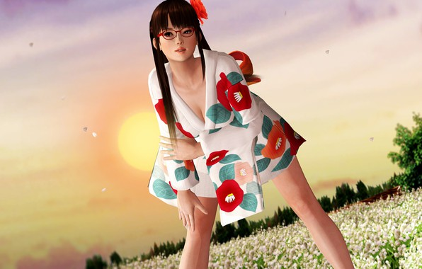Picture summer, girl, anime