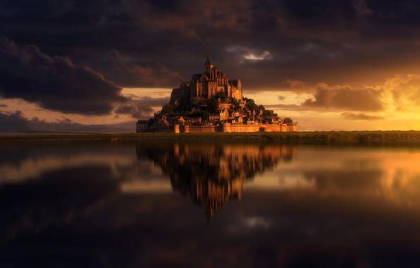 Picture clouds, castle, France, island, Mont-Saint-Michel