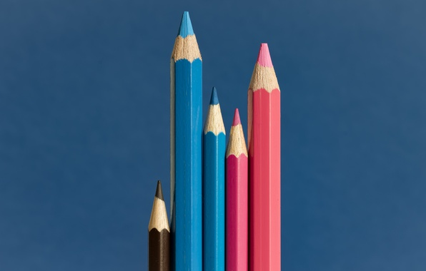 Picture background, color, pencils, The happy family