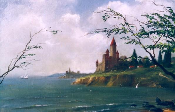Picture castle, shore, Seascape, 1995, Aibek Begalin