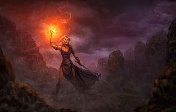 Picture girl, fire, magic, sword, warrior