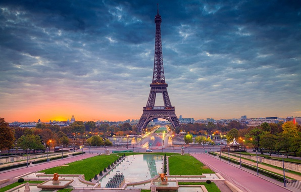 Picture dawn, France, Paris, panorama, Eiffel tower