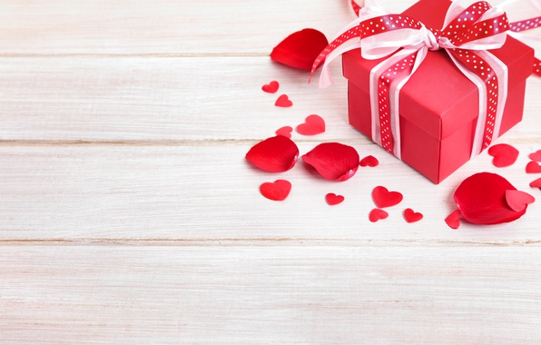 Picture Heart, petals, Board, hearts, Bow, Valentine's Day, Valentine's Day, Gifts
