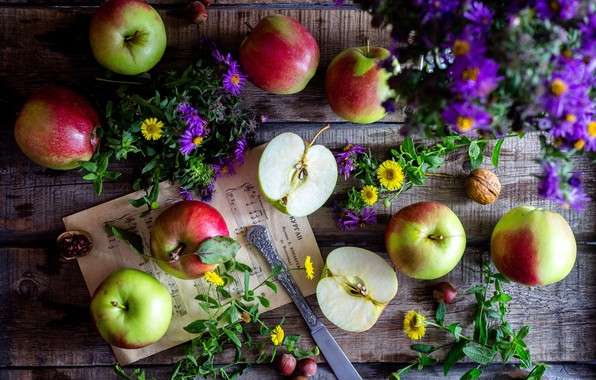 Picture flowers, apples, nuts, wood