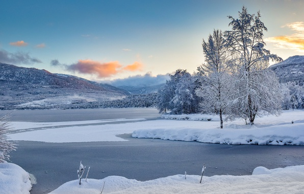 Picture winter, snow, trees, mountains, lake, Norway