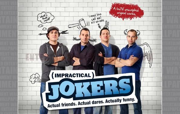 Wallpaper wall, bricks, funny, joe, impractical jokers, sal, murr images for desktop, section мужчины - download