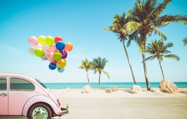 Picture sand, sea, wave, car, beach, summer, the sky, balloons, palm trees, stay, shore, colorful, summer, …