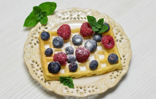 Picture berries, raspberry, Breakfast, blueberries, mint, waffles, powdered sugar