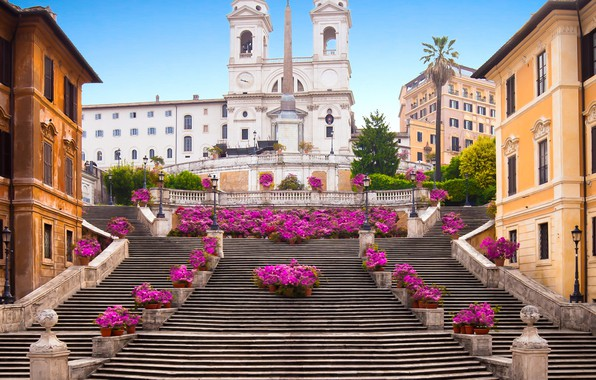 Picture flowers, home, Rome, Italy, stage, Rome, architecture, The Spanish steps, The Spanish Steps