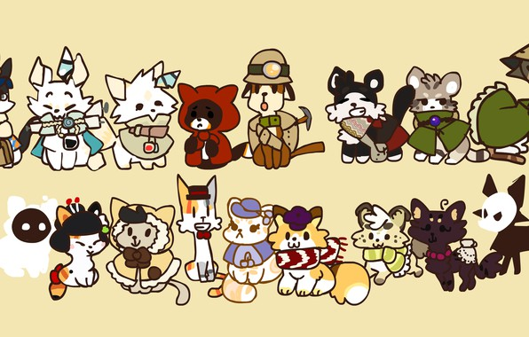 Picture white, light, cats, green, darkness, pen, black, cats, China, anime, scarf, the postman, brown, Cape, …