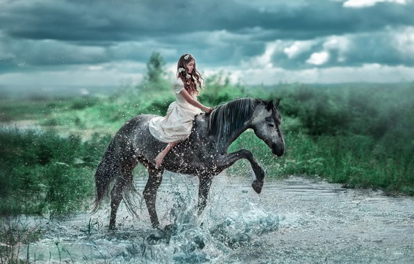 Picture water, girl, flowers, squirt, river, mood, horse, horse, dress, rider, Swallow