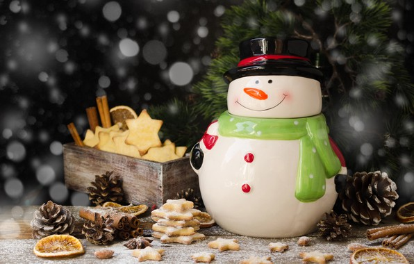 Picture holiday, new year, Christmas, branch, cookies, snowman, box, bumps, pine, cakes, figure, bokeh, spices