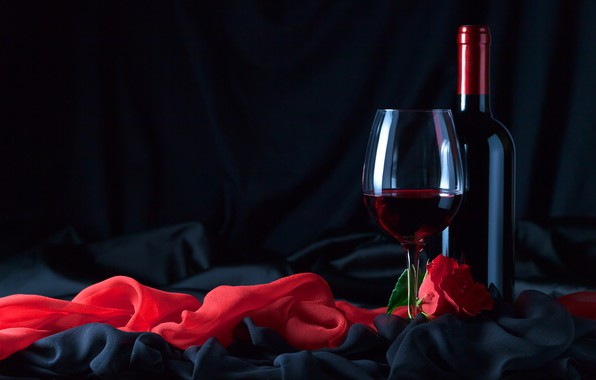 Picture flower, wine, glass, rose, bottle, fabric, black, red