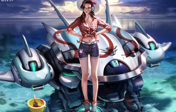Picture sea, summer, the sky, water, girl, clouds, shorts, robot, shirt, overwatch, D.Va, Hana Song, slapo