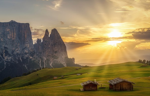Picture greens, the sky, grass, the sun, clouds, rays, trees, mountains, rocks, field, Alps, Italy, houses, …