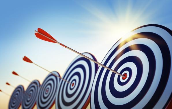Photo wallpaper goal, art, arrow, arrows, target, the shooting range, arrows, wallpaper., target, the bull's-eye, sky sun ...