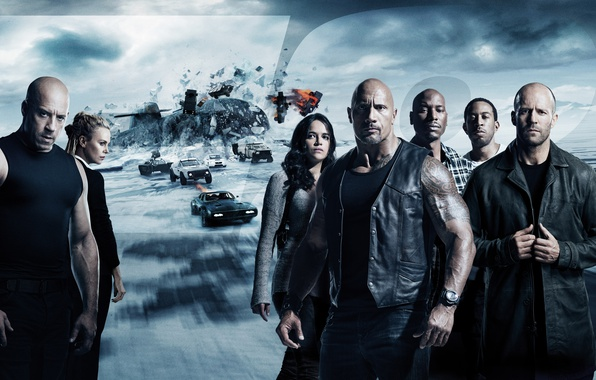 Picture car, Charlize Theron, cinema, ice, movie, Vin Diesel, Jason Statham, Dwayne Johnson, Michelle Rodriguez, film, …