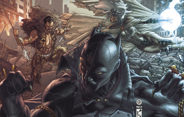 Picture storm, art, hunting, battle, art, Black Panther, black Panther, Sergei Kraven