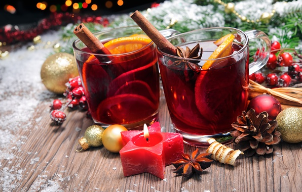 Picture balls, candle, New Year, Christmas, wine, orange, merry christmas, punch, tea, decoration, mulled wine
