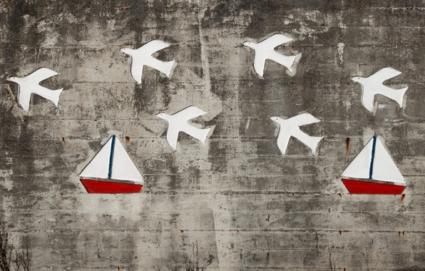 Picture birds, wall, ships