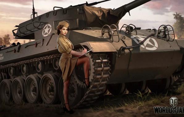 Photo wallpaper girl, figure, art, form, pussy, American, World of Tanks, PT-ACS, WOT, Nikita Bolyakov, M18 Hellcat