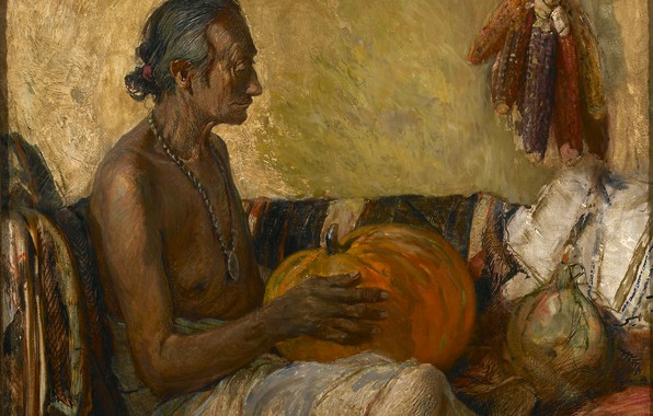 Picture corn, medallion, pumpkin, old Indian, Oscar Edmund Berninghaus, Harvest Season