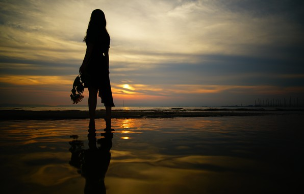 Photo wallpaper sea, the sky, girl, sunset, night, walk
