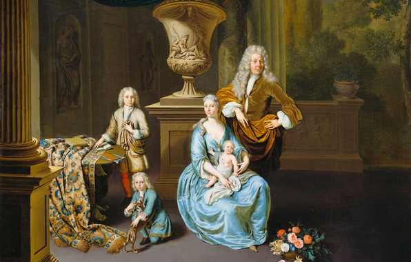Picture oil, portrait, picture, canvas, Baron Diederik with his Wife and Three Sons, Willem van Mieris