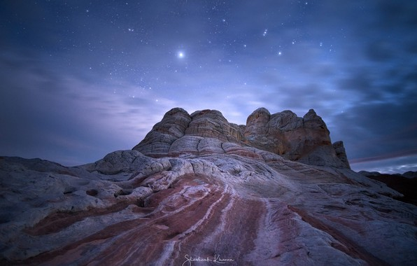 Picture the sky, stars, night, nature, rocks