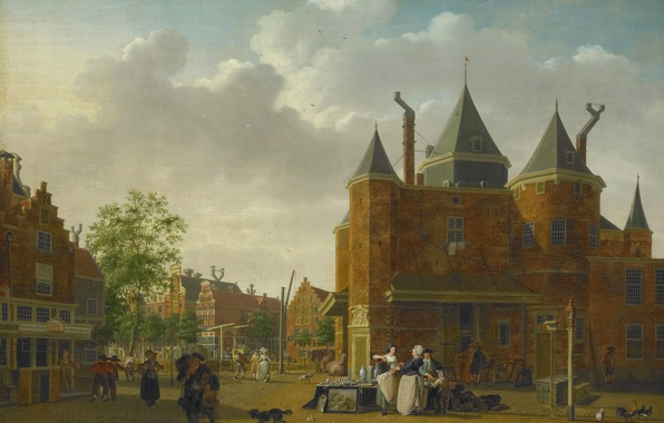 Picture oil, picture, canvas, the urban landscape, Isaac Ouwater, Sint Antoniuswaag in Amsterdam