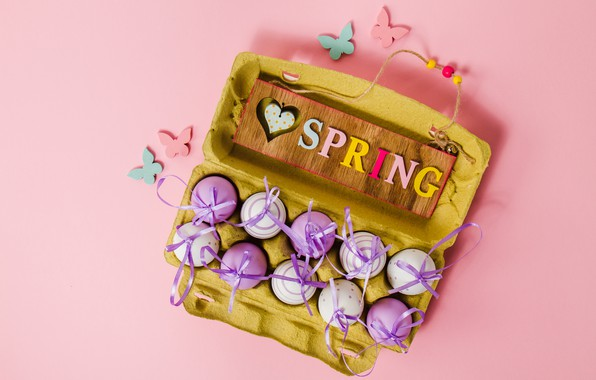 Picture butterfly, background, pink, spring, Easter, pink, spring, Easter, purple, eggs, decoration, Happy, the painted eggs